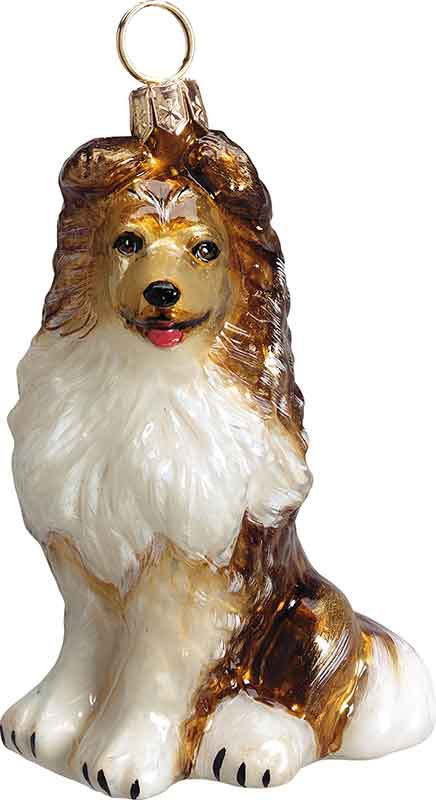 Shetland Sheepdog Dog: Shetland Shetland Sheepdog Glass Dog Ornament Breed