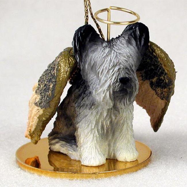 Skye Terrier Dog: Skye Skye Terrier Dog Figurine Angel Statue Hand Painted Breed
